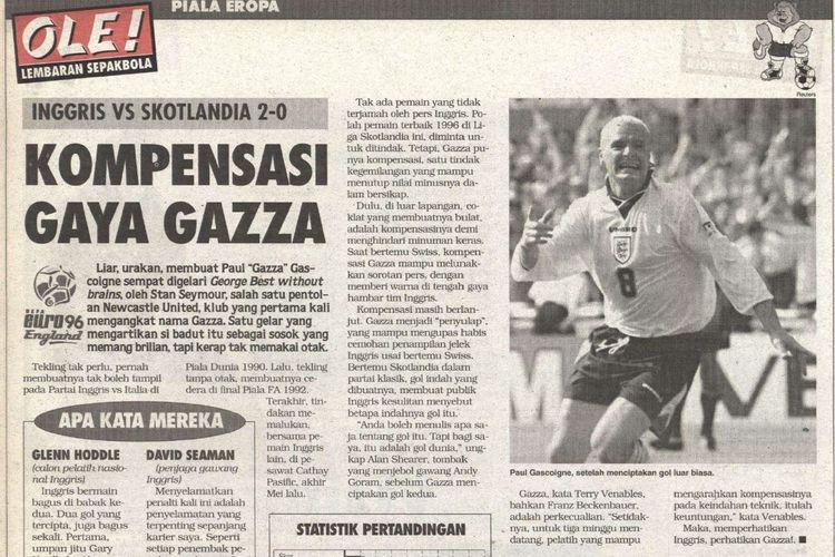 Laporan Tabloid BOLA edisi minggu ketiga Juni 1996 yang membahas pertemuan Inggris vs Skotlandia di Euro 1996.