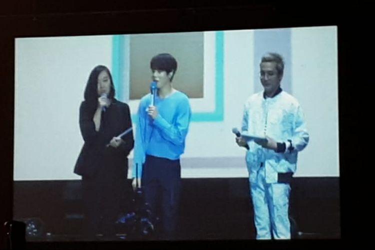 Ha Sung Woon menyapa para penggemarnya dalam acara fan meeting di The Kasablanka Hall, Kota Kasablanka, Jakarta Selatan, Sabtu (22/06/2019) .