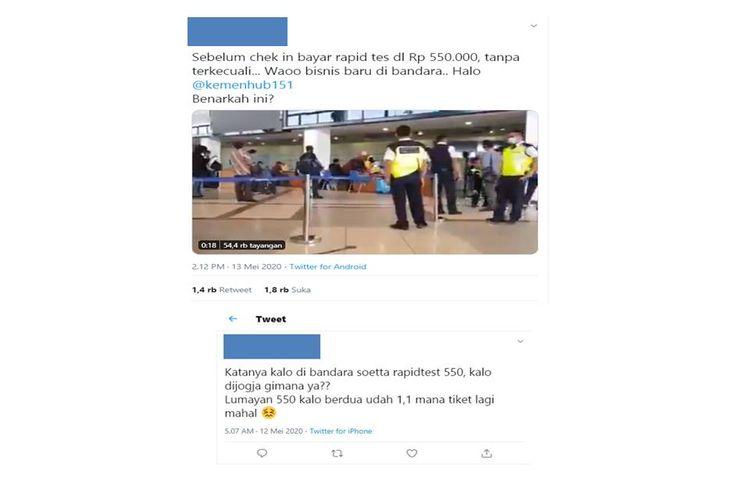 Tangkapan layar twit viral mengenai pemeriksaan rapid tes di bandara