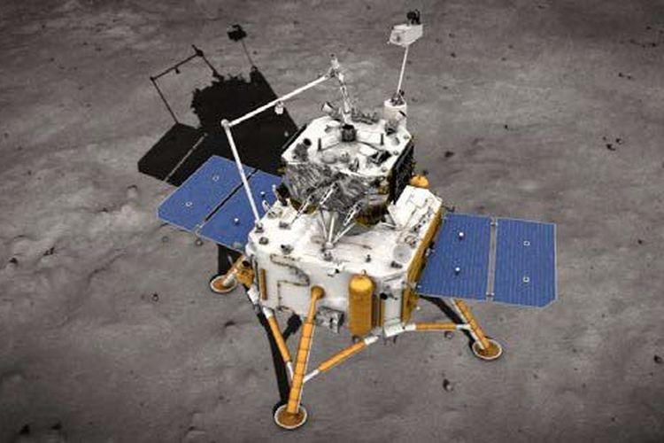 Ilustrasi pesawat ruang angkasa China Change 5 kembali ke bulan.