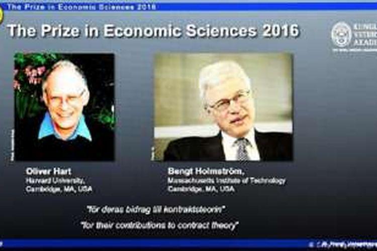 Peraih Hadiah Nobel Ekonomi 2016,  Oliver Hart dan Bengt Holmstrom,.atas kontribusi mereka pada teori kontrak.