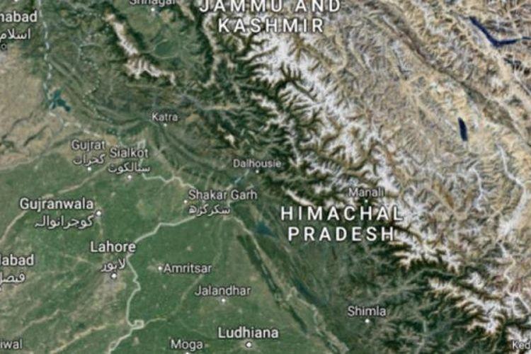 Peta wilayah Kashmir yang disengketakan India dan Pakistan.