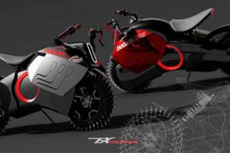 Rendering sepeda motor listrik Ducati