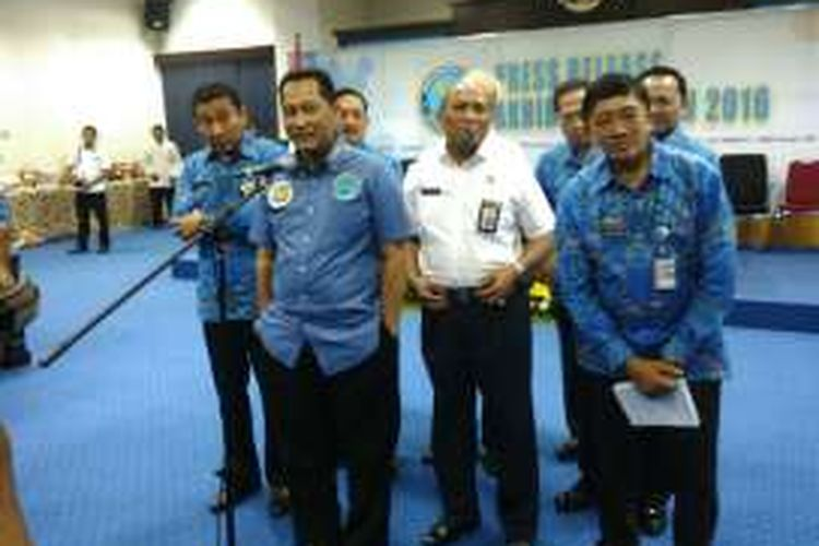 Kepala BNN Komisaris Jenderal Budi Waseso dan jajaran dalam rilis akhir tahun di kantor BNN, Cawang, Jakarta Timur, Kamis (22/12/2016).