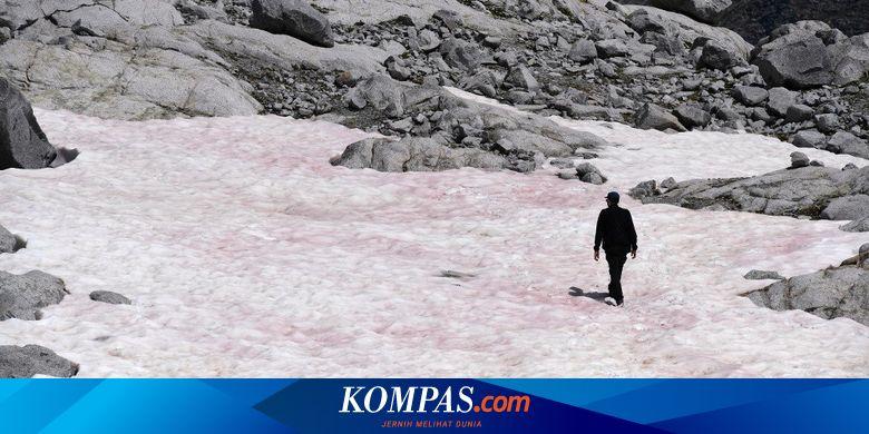 Es Berwarna Pink Muncul di Pegunungan Alpen, Fenom