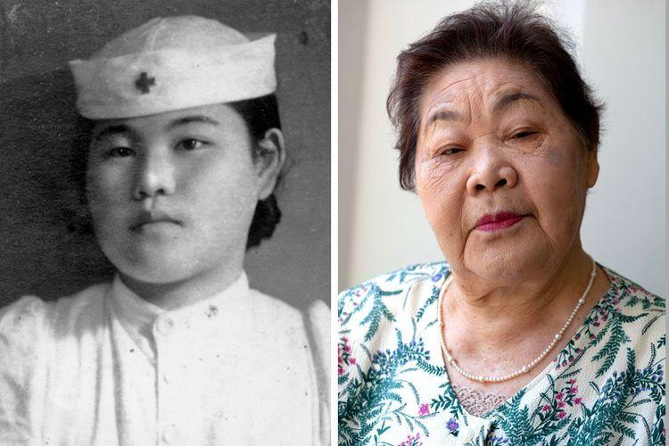 Teruko Ueno sebagai perawat di Rumah Sakit Palang Merah Hiroshima beberapa tahun setelah jatuhnya bom atom (kiri) dan Teruko pada 2015.