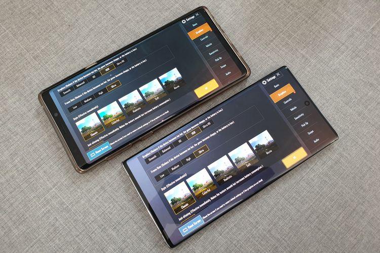 Ilustrasi menu tampilan grafis PUBG Mobile di Galaxy Note 9 (atas) dan Galaxy Note 10 Plus (bawah)