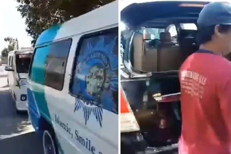 Tangkapan layar unggahan video yang menyebut mobil ambulans kosong menyalakan sirine melaju dengan ugal-ugalan di Kudus, Jawa Tengah.