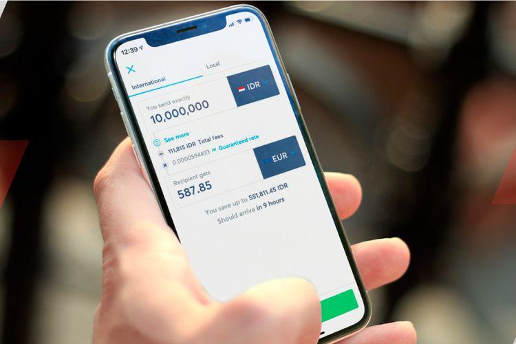 Ilustrasi tampilan antarmuka aplikasi kirim uang ke luar negeri, TransferWise.