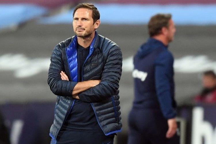 Pelatih Chelsea, Frank Lampard, pada laga kontra West Ham, Kamis (2/7/2020) dini hari WIB.