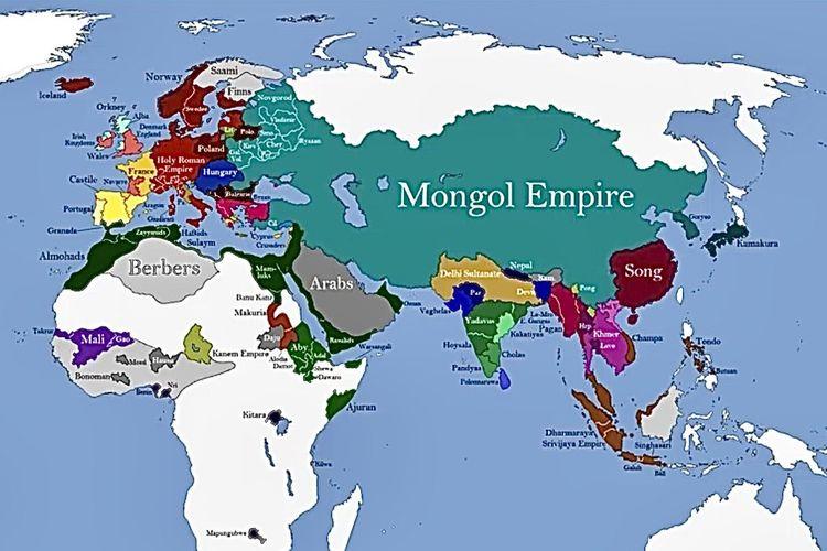 Wilayah kekuasaan Kekaisaran Mongol pada masa pemerintahan Mongke Khan.