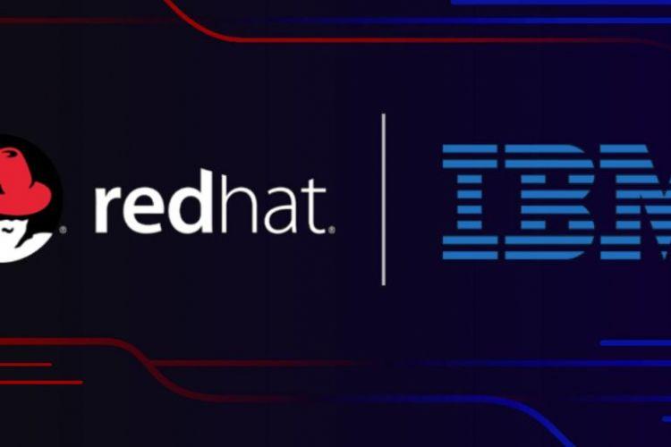 Ilustrasi akuisisi Red Hat oleh IBM.