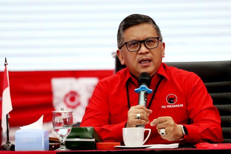 Sekjen DPP PDI-P Hasto Kristiyanto dalam konferensi pers pengumuman paslon Pilkada 2020, Rabu (2/9/2020).