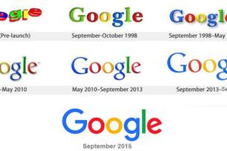 Evolusi logo Google dari masa ke masa.