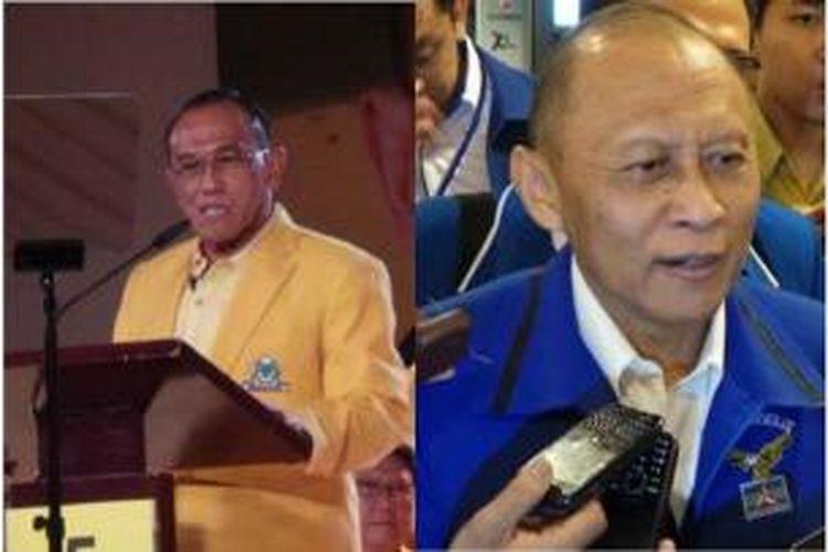 Ketua Umum Partai Golkar Aburizal Bakrie (kiri) dan Anggota Dewan Pembina Partai Demokrat Pramono Edhie.