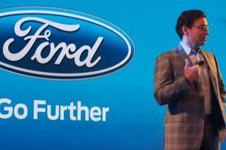 Mark Fields, CEO Ford saat membuka gelaran Further With Ford 2015 di Palo Alto, California, AS, Selasa (23/6/2015).