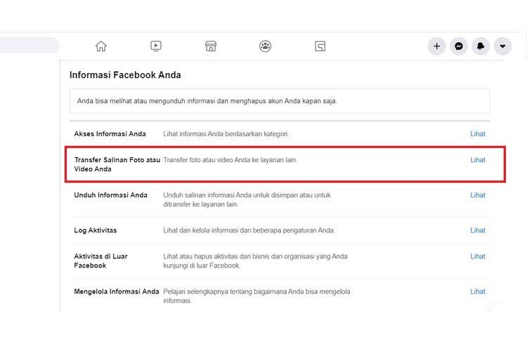 Tools Facebook untuk mentransfer foto dan video ke Google Photo