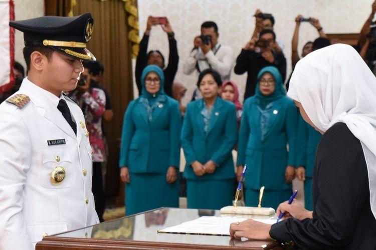 Pelantikan Mochammad Nur Arifin sebagai Bupati Trenggalek di Gedung Negara Grahadi Surabaya, Selasa (28/5/2019)