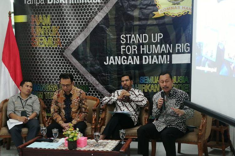 Komnas HAM menggelar konferensi pers terkait kerusuhan di Wamena, Papua, di kantor Komnas HAM, Jakarta, Jumat (18/10/2019).