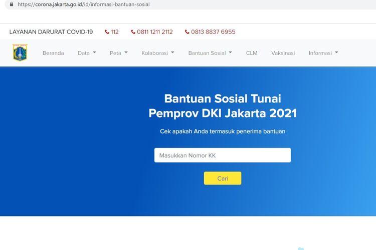 Tampilan laman untuk mengecek daftar penerima BST DKI Jakarta.