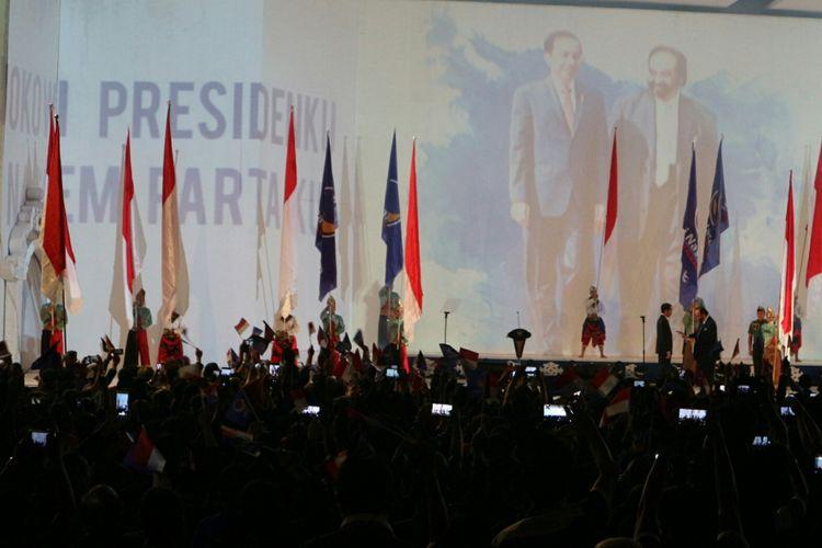 Rapat Kerja Nasional (rakernas) Partai Nasdem ke-IV resmi mendeklarasikan dukungannya untuk Presiden Joko Widodo pada pemilihan presiden (Pilpres) 2019 mendatang di JI-EXPO Kemayoran, Jakarta Pusat, Rabu, (15/11/2017).