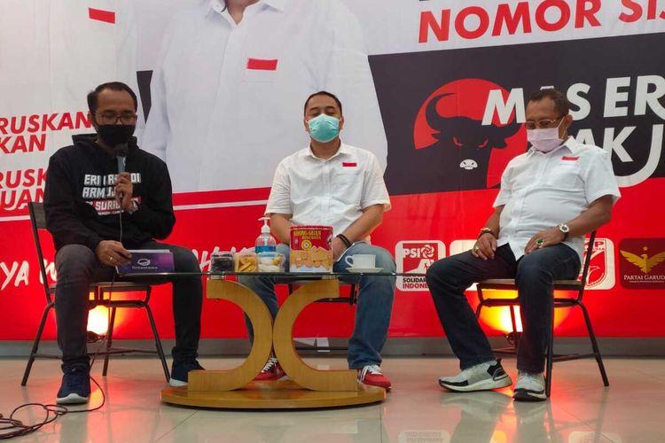 Cangkruk online calon wali kota dan wakil wali kota Surabaya Eri Cahyadi-Armudji, Rabu (30/9/2020).