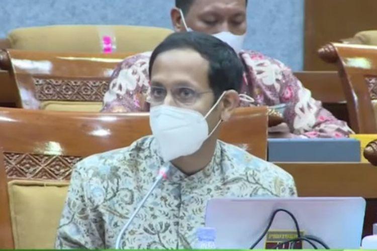 Tangkapan layar Mendikbud Nadiem Makarim saat Rapat Kerja bersama Komisi X DPR RI.
