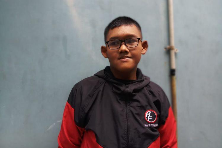 Bocah asal Karawang, Arya Permana, yang berhasil turunkan berat badan dari 192 kilogram menjadi 83 kilogram saat ditemui di kawasan Tendean, Jakarta Selatan, Kamis (23/1/2020).