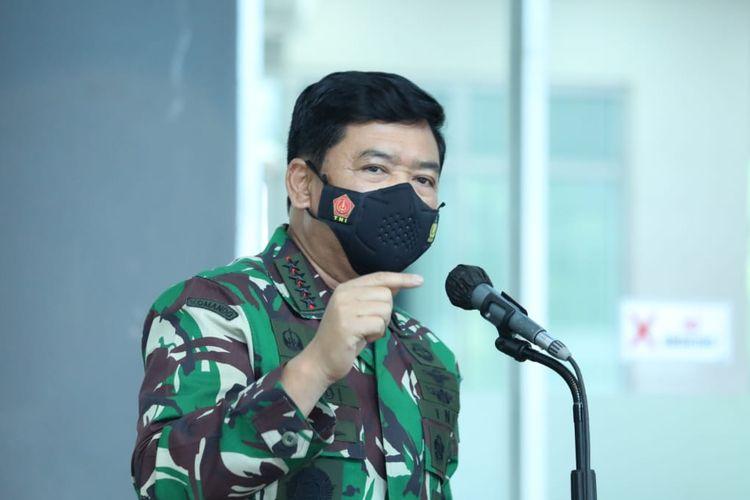 Panglima TNI Marsekal Hadi Tjahjanto tengah memimpin rapat terkait penanganan Covid-19.