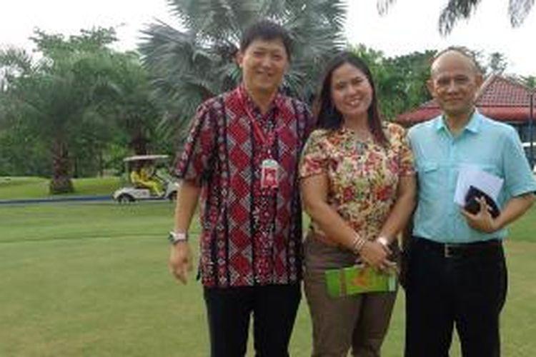 Dari kiri ke kanan: Steven Japari, General Manager Palm Spring Golf & Beach Resort; Enly Yunaeni, General Manager Tering Bay Golf and Country Club; dan Luhu Winarno, General Manager Tamarin Santana Golf Club di Tering Bay Golf & Country Club, Batam, Kepri, Jumat (22/5/2015).