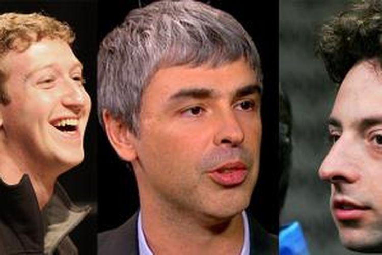 Mark Zuckerberg (Facebook), Larry Page, Sergey Brin (Google). (ki-ka)