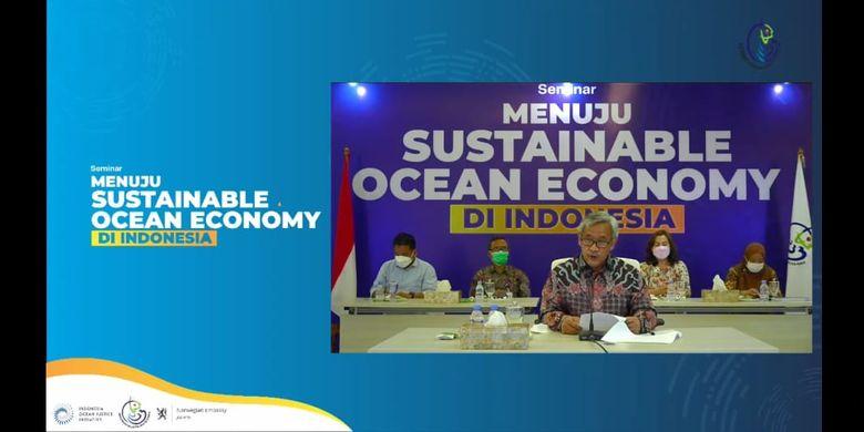 Kepala Badan Riset dan Sumber Daya Manusia Kelautan dan Perikanan (BRSDM) Sjarief Widjaja dalam seminar menuju SOE Indonesia di Jakarta, Selasa (30/3/2021).