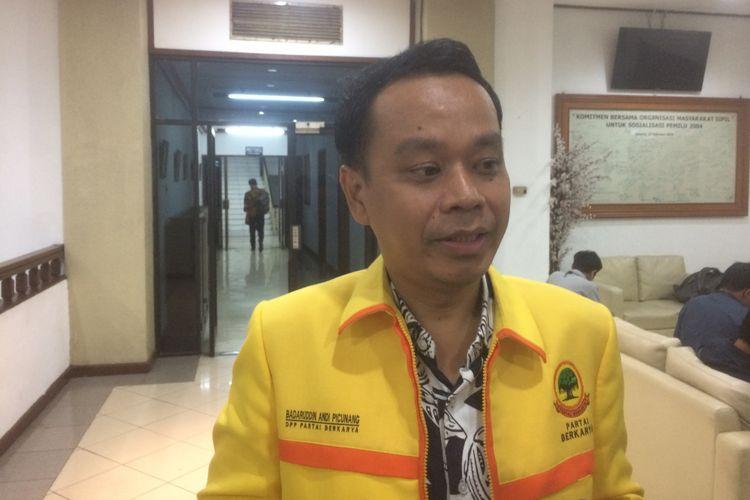Ketua DPP Berkarya Badaruddin Andi Picunang saat ditemui di Kantor KPU, Jakarta, Jumat (27/7/2018) malam.
