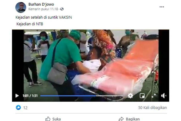 Tangkapan layar unggahan hoaks yang menyebut seseorang di NTB pingsan setelah disuntik vaksin Sinovac.