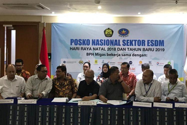 Konferensi pers pembubaran Posko Nasional ESDM di kantor BPH Migas, Jakarta, Selasa (8/1/2019).