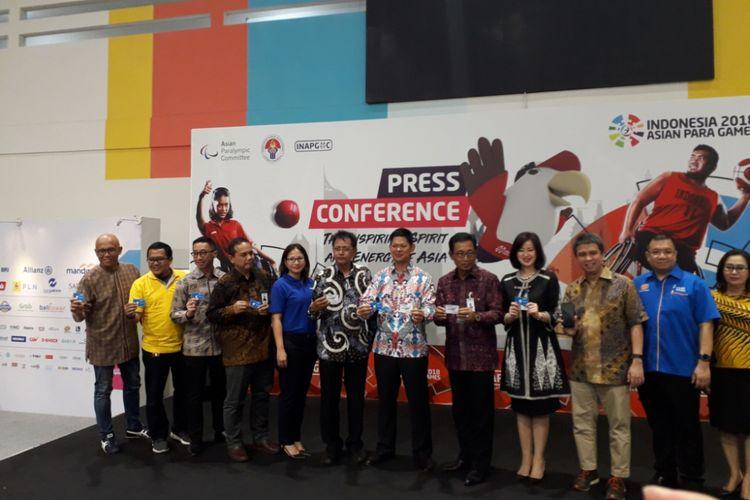 Acara penandatangan kerja sama antara INAPGOC dan para sponsor Asian Para Games 2018 di GBK Arena, Senayan, Jakarta, Selasa (2/10/2018).