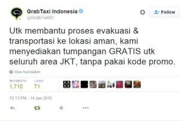 Layanan tumpangan gratis Grab Taxi untuk membantu proses evakuasi menyusul ledakan di kawasan Sarinah Jakarta, Kamis (14/1/2016).