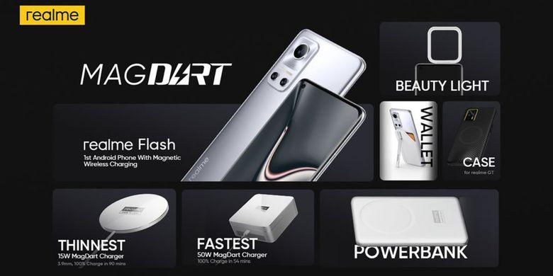 Ilustrasi ponsel Realme Flash dan aksesori penunjang teknologi MagDart Realme.