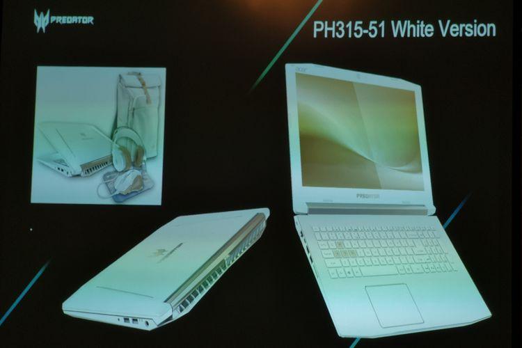 Acer Predator Helios 300 edisi warna putih dipaketkan dengan aksesori gaming berkelir senada.