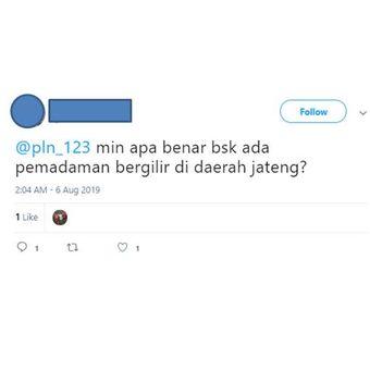 Tangkapan layar salah satu akun menanyakan kebenaran informasi adanya pemadaman serempak di Jateng dan DIY.