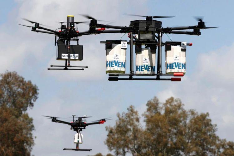 Layanan Pos Inggris mengandalkan drone untuk menjangkau pengiriman peralatan kesehatan ke wilayah-wilayah yang terpencil. [Ilustrasi Via DW Indonesia]