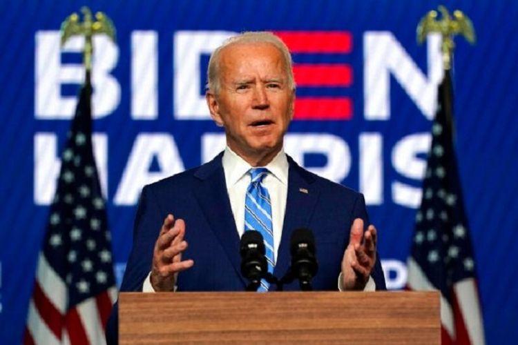 Calon Presiden Partai Demokrat Joe Biden yang di ambang kemenangan Pilpres 2020 berbicara dari kota kediamannya, Wilmington, Delaware, Rabu (04/11/2020)
