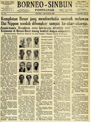 Kiri: Koran Borneo Sinbun tertanggal 1 Sitigatu 2604 (1 Juli 1944) menyebutkan bahwa pada 28 Juni 1944, Raja (Panembahan dan Sultan) serta kaum intelektual telah dieksekusi oleh Jepang. Kanan: Peta persebaran dokter alumni Stovia di Borneo (Kalimantan) pada 1926. Tampak di Kalimantan terdapat satu dokter di Ketapang dan satu dokter di Pontianak.