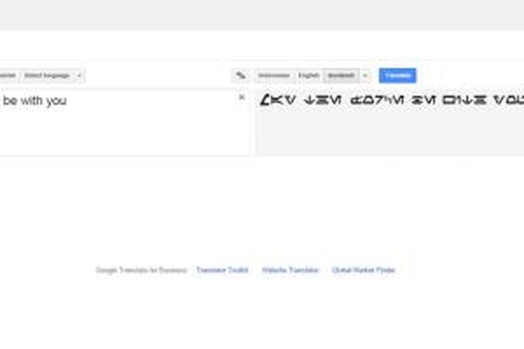 Google Translate menerjemahkan bahasa Arebesh yang digunakan di dunia Star Wars