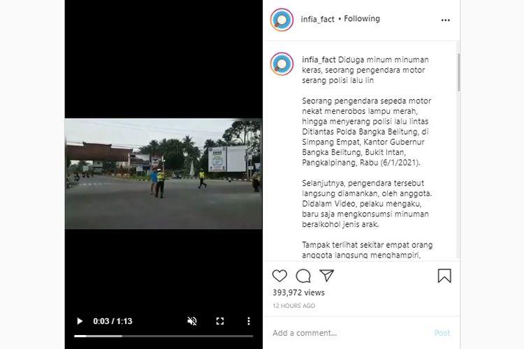 Pemotor mabuk terobos lampu merah dan menyerang polisi