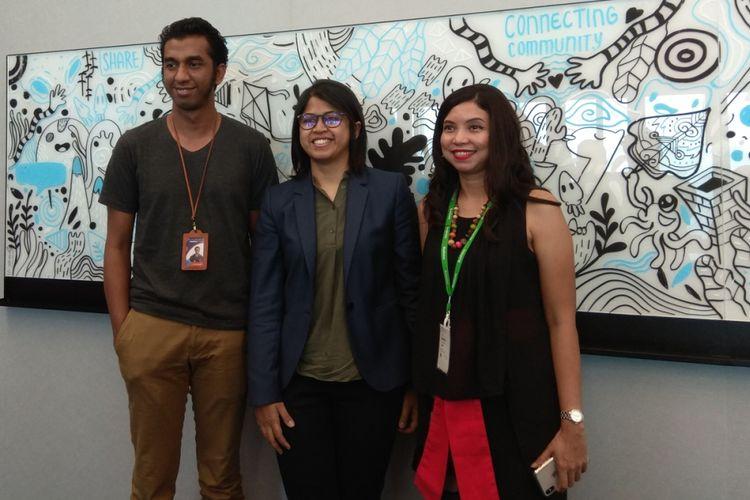 CMO Lazada Achmad Alkatiri (kiri), market science leader Facebook Indonesia Adisti Latief (tengah), Henny Yuliandini (kanan) dalam acara sharing session di kantor Facebook indonesia