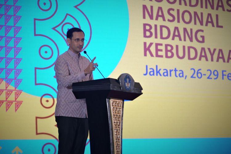Mendikbud Nadiem Makarim menyinggung soal pendidikan karakter dan juga masalah bullying saat menghadiri Rakornas Bidang Kebudayaan di Jakarta (26/2/2020).