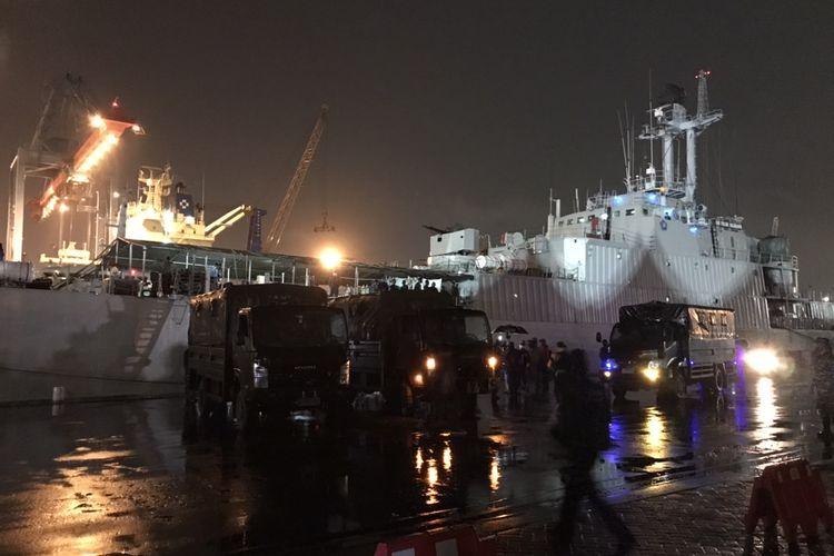 KRI Teluk Gilimanuk-531 di Jakarta International Container Terminal (JICT) 2, Pelabuhan Tanjung Priok, Jakarta Utara pada Sabtu (9/1/2021).