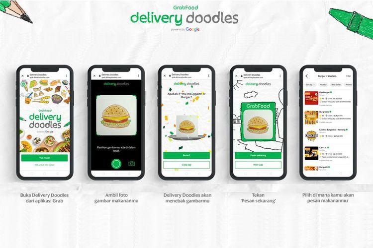 Ilustrasi gambar doodle yang dapat diubah jadi pesanan makanan lewat aplikasi Grab.