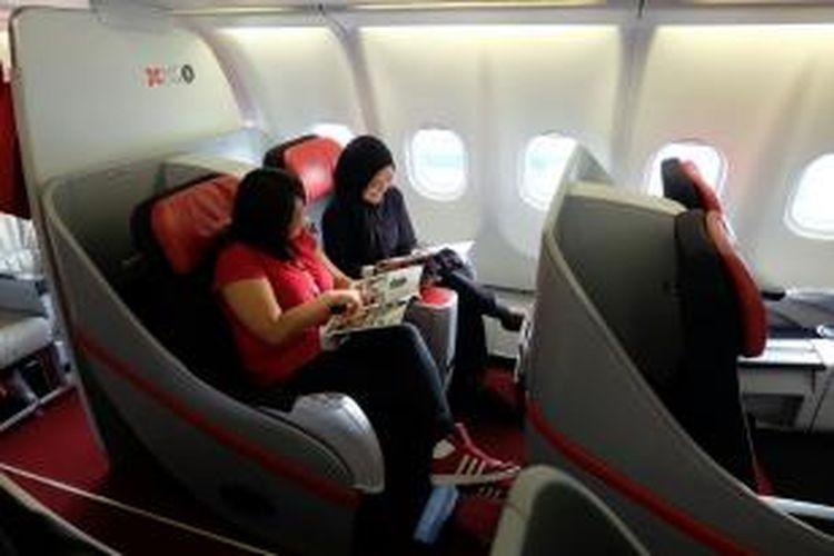 Suasana di business class flatbed Indonesia AirAsia X yang menggunakan pesawat Airbus A330-300